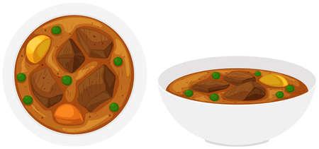 Beef stew in bowls illustration Illustration