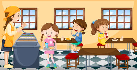 Kinder mit Mittagessen in Kantine Illustration