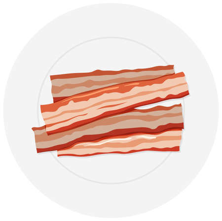 bacon art: Four slices of bacon on plate illustration Illustration