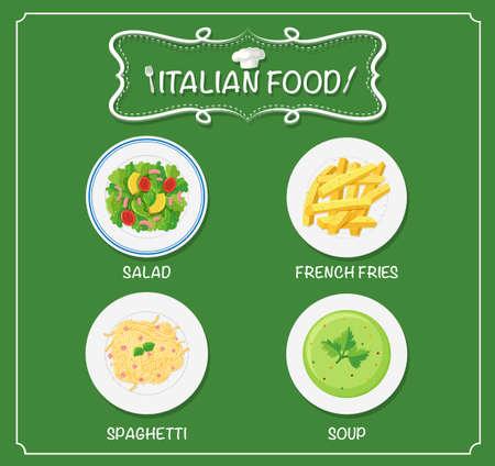 Different dishes on italian menu illustration
