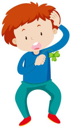 child drawing: Boy holding green leaf for good luck illustration
