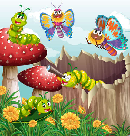 butterfly flower: Many insects in garden illustration Illustration