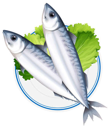 Fish on round plate illustration