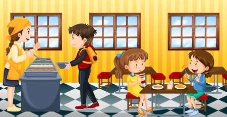 Szene mit Menschen in Kantine essen Illustration
