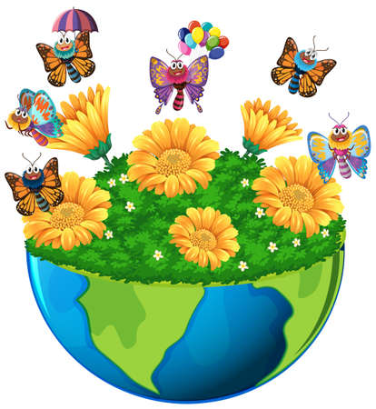 butterfly background: Earth theme with butterflies and flowers illustration