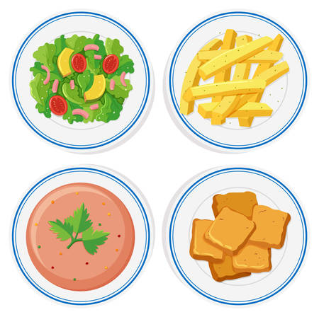 plates of food: Different food on the plates illustration