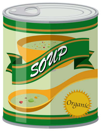 tin packaging: Organic soup in aluminum can illustration