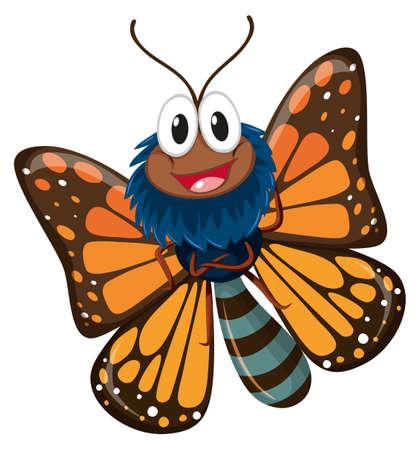 Mariposa con ilustración de alas de color marrón Ilustración de vector