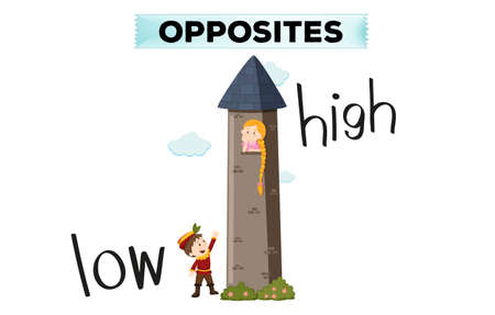 Opposite words for low and high illustration  イラスト・ベクター素材