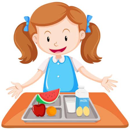 Girl having lunch on table illustration