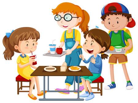 Children having meal at table illustration Illustration