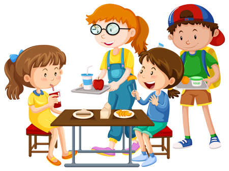 Children having meal at table illustration Illustration