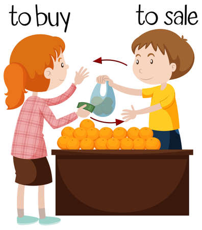 buyer: Fruit seller selling oranges illustration