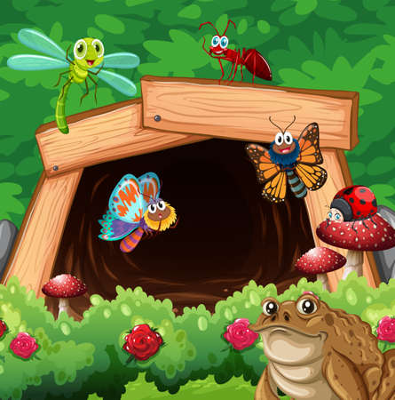 hole: Different types of insects in front of tunnel illustration