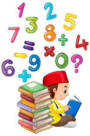 Muslim boy reading book with numbers illustration