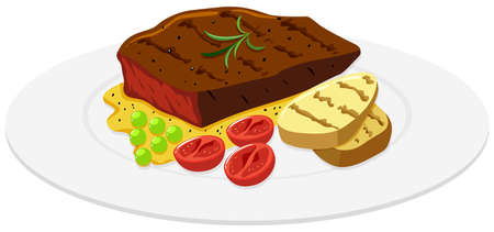 steak beef: Beef steak and potato on the plate illustration Illustration