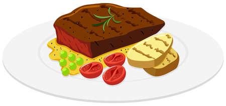Beef steak and potato on the plate illustration Illustration