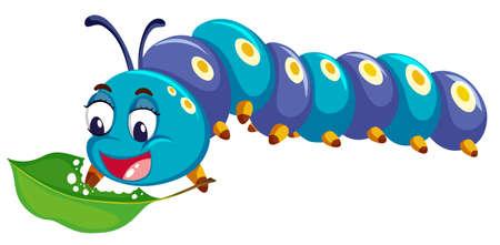 Catepillar azul comer hoja verde ilustración