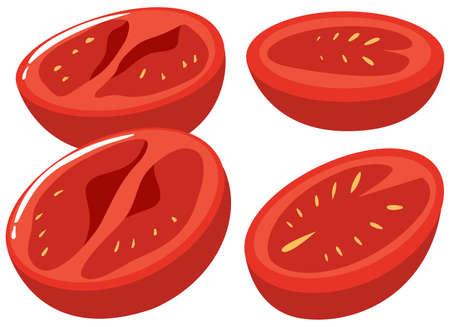 multiple objects: Slices of fresh tomatoes illustration Illustration