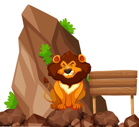 stone lion: Lion sitting on rock in zoo illustration