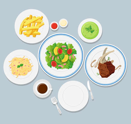 Different types of food on blue background illustration Illustration