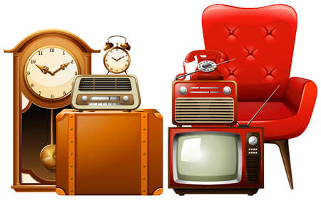 vintage furniture: Different types of vintage furnitures illustration Illustration