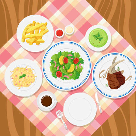 Different plates of food on table illustration Illustration