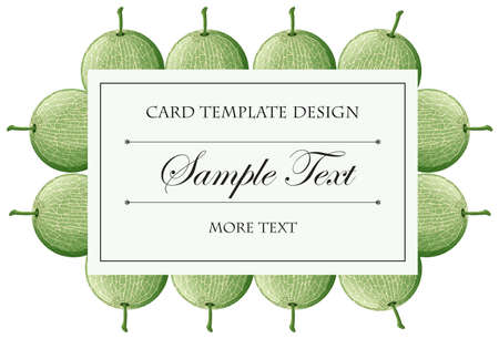 tropical: Card template with cantaloupe fruits background illustration