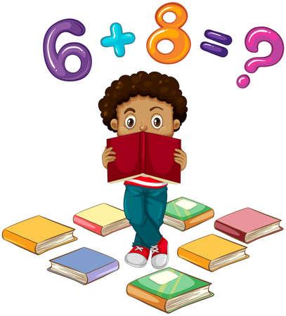 marca libros: Niño, solución, matemáticas, problema, Ilustración