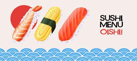 sun: Sushi roll on japanese style background illustration
