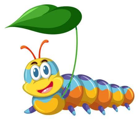 Colorful caterpilla holding leaf illustration