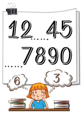 Missing numbers on paper and girl thinking illustration