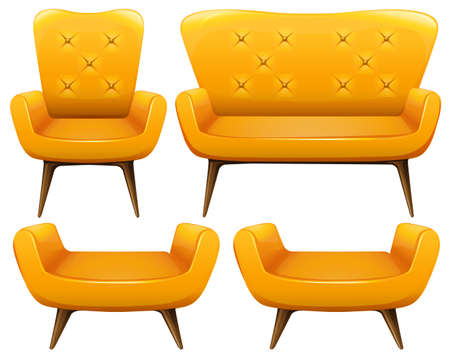 Different design of chairs in yellow color illustration