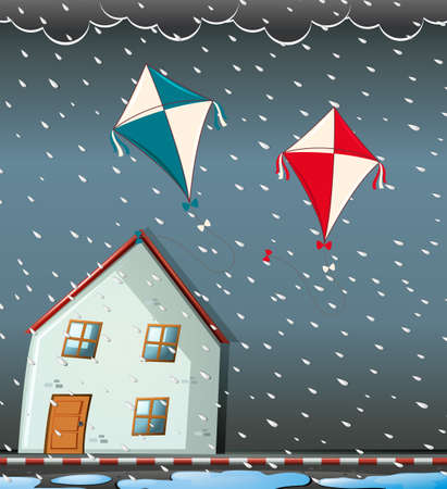 outside the house: Scene with heavy storm at night illustration