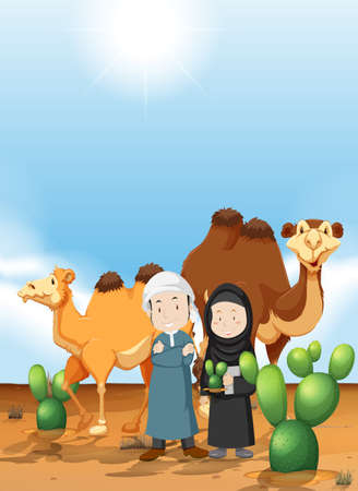 Arab people and camel on the desert ground illustration
