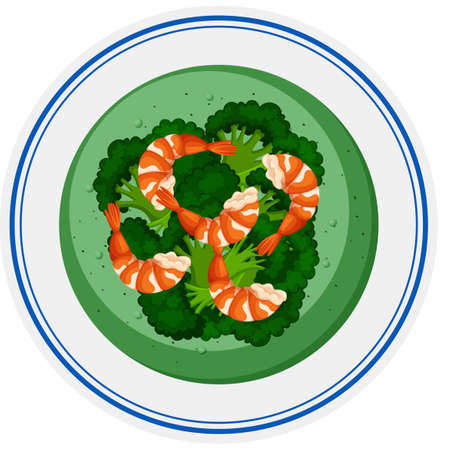 brocolli: Brocolli soup with shrimps illustration Illustration