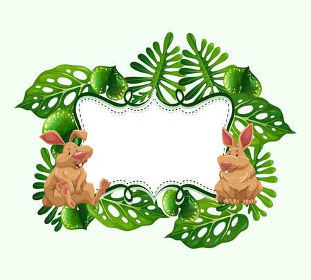 Frame design with two rabbits illustration Illustration