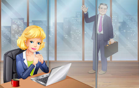 office building: Businesswoman working in office illustration Illustration
