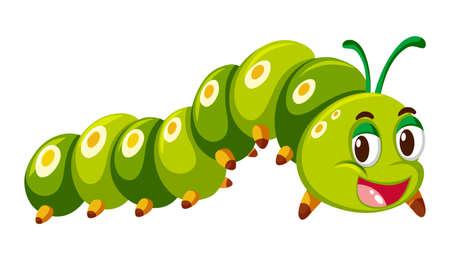 Green caterpillar crawling on white background illustration