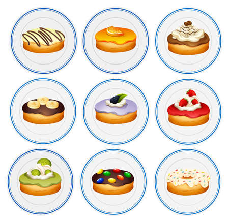 plate: Different flavors of donuts illustration