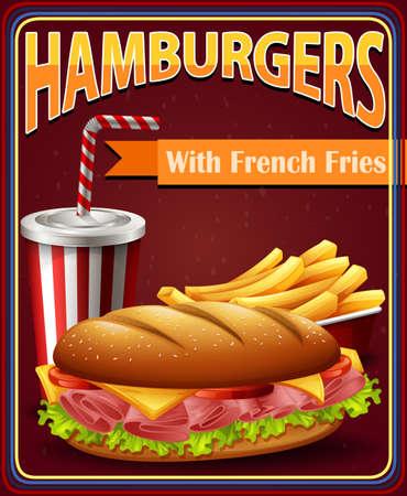 softdrink: Advertisement board with hamburgers and fries illustration Illustration