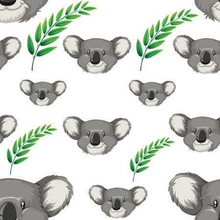 Seamless background with koala bears illustration Çizim