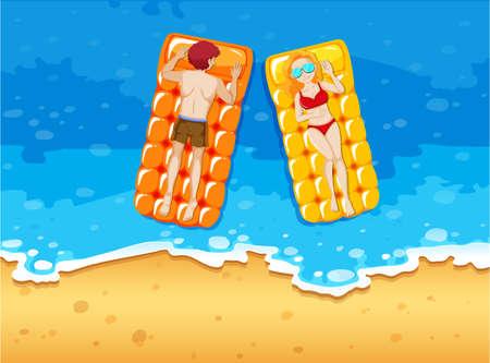 Man and woman sunbathing on the seaside illustration