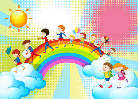 flag: Children playing music in band over the rainbow illustration