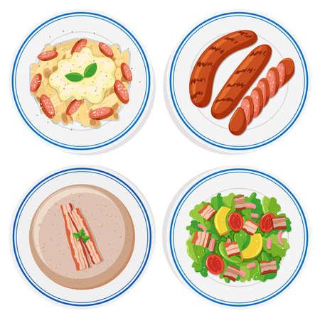 food: Italian food on round plates illustration
