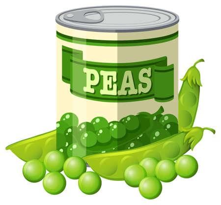 Green peas in can illustration Illustration