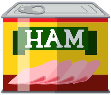 tin packaging: Ham slices in can illustration Illustration