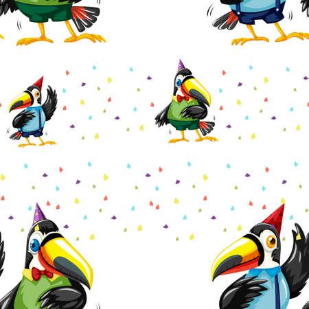 Background with toucan birds illustration Illustration