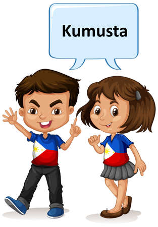 Philippino boy and girl greeting illustration Illustration