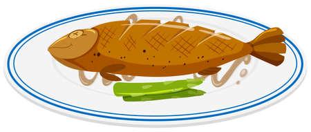 piatto: Pesce alla griglia sul piatto rotondo illustrazione